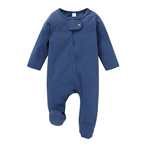 CBHAIBLYD Newborn Baby Boys Girls Clothes Cotton Zip Front Footies Sleeper Pajamas, Solid Color Footed Sleep/Play Outfit (Blue, 3-6 Months)