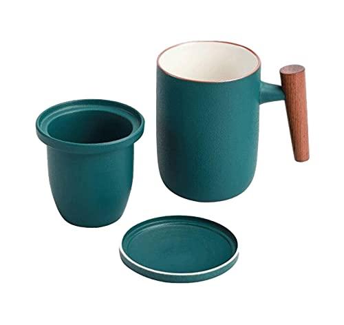 N\C Taza de té con Mango de Madera, Taza de Calentamiento Taza de Tetera de 300 ml / 400 ml + colador