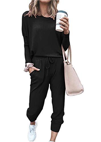 Doaraha Tuta da Ginnastica Donna, Tuta Casual Donna Morbido Due Pezzi, Completi Sportivi Donna Senza Cappuccio, Pigiama Primavera Lungo da Casa, Felpa Girocollo+Pantaloni, Nero, L