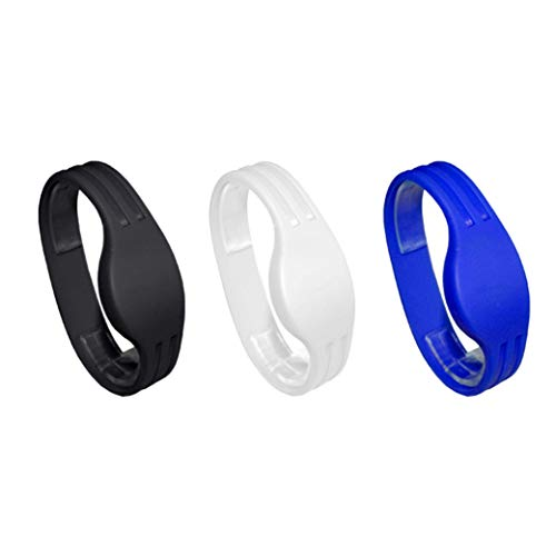 RFID Fitness - Pulseras de silicona para miembros (3 unidades, HF 13,56 MHz)