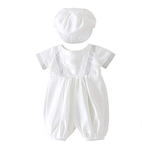 XYAN Bebé del Bautizo Blanco Mameluco Infantil del Bautismo del Mono con el Casquillo recién Nacido Los Primeros Conjuntos de cumpleaños Boy Boutique Ropa 3-24M (Color : Hat Romper, Kid Size :