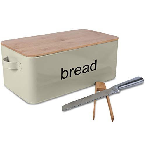 LifeSmart Bread Box Cutting Board and Bread Accessories- Bamboo - 12.5 inches by 6.5 inches by 4 inches - Includes Bonus Bread Knife and Bamboo Toast Tongs