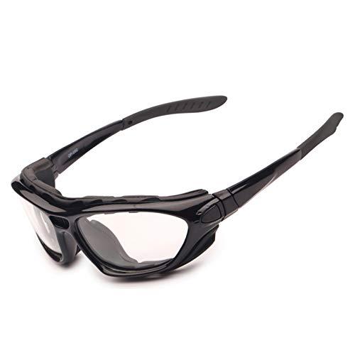 EnzoDate Gafas de la Motocicleta Polarized Clear Lenses Day Night, Gafas de Sol para el Casco Temples Intercambiables Correa (Versión Clara)