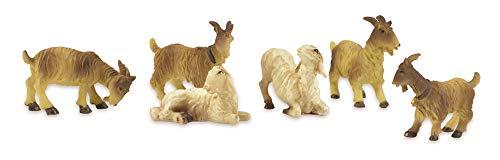 Riffelmacher Schafe und Ziegen 6-TLG. - 2-4cm - 78034 - für 10cm große Krippenfiguren - Weihnachtskrippe Handarbeit Weihnachtswunder Jesus Geburt Heiligabend Dekoration