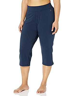 Danskin Women's Plus Size Sleek Fit Yoga Crop Pant, Midnight Navy, 1X