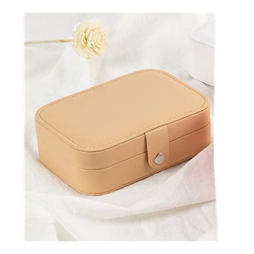 YNuo Protable Bijoux en Cuir Boîte de Rangement Boucles d'oreilles Bague Collier Jewel Case Emballage Cosmétique Voyage Beauté Organisateur Container Box (Color : Khaki)