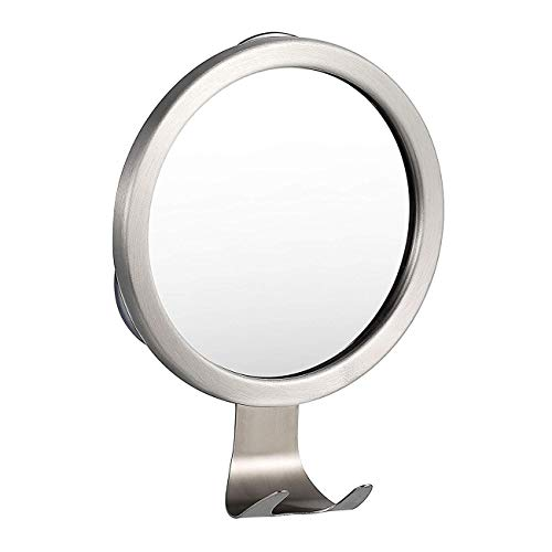 Xuanmuque Bathroom Suction Up Fogless Shower Mirror Wall Mount Fog-Free Shower Shaving Mirror with Razor Hook, Silver