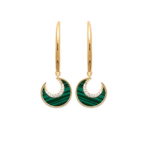 Tata Gisèle 18K Gold Plated Malachite Crescent Moon Drop Earrings with Cubic Zirconia - Free Velvet Bag