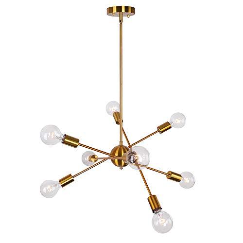 OYIPRO Sputnik Kronleuchter Pendelleuchte 8-Flammig Hängelampe Verstellbaren Armen Einstellbare Höhe 4x25cm E27 Lampenfassung Metall Brass für Esszimmer Wohnzimmer Schlafzimmer Küche
