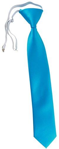TigerTie Security Sicherheits Krawatte in türkisblau Uni einfarbig - vorgebunden mit Gummizug in weiss