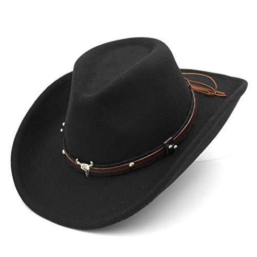 liqun Unisex Wollmischung Western Cowboy Fedora Mütze Breite Krempe Sombrero Pate Mütze Church Caps Jazz Hut Tauren Leder Band, Schwarz