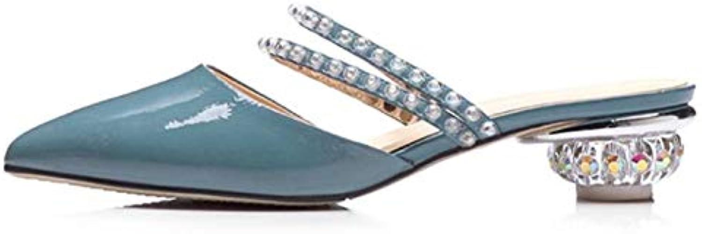 LFDGGX Kristall Seltsame Stil Schuhe Frauen Plus Gre Manuelle Mode Sommer Hausschuhe Off Weiß Frauen Heels 3,5 cm