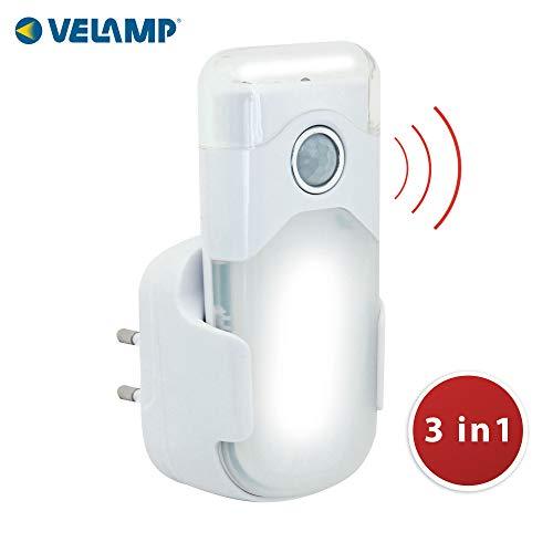 VELAMP Night Guard Torcia d'Emergenza Automatica con Funzione Luce di Cortesia e Rilevatore di Movimento. LED. Ideale per corridoi, Scale, Camera da Letto, Soggiorno, Bianco