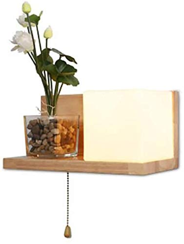Eenvoudige moderne Japanse wandlamp van massief hout met glazen blazen, lampenkap, wand, met plankfunctie Hotel Bedroom bedlampje hal balkon lamp