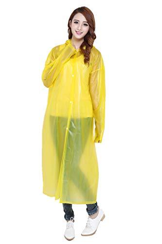 flqwe Regencapes voor dames en heren, gematteerde regenjas, milieuvriendelijke dikke poncho met capuchon voor volwassenen, waterdichte regenponcho