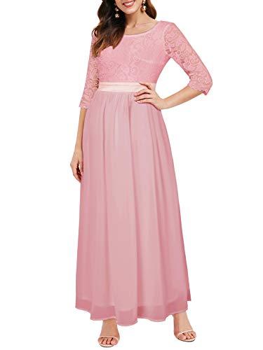 Auxo Damen Maxi Kleider Lang Abendkleid Festlich Cocktail Herbstkleider Elegant Brautkleider 01-Pink L