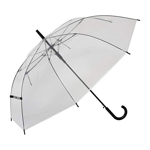 『大きい 透明ジャンプ傘 (6本組) [ブラック] 65cm×8本骨 耐風グラスファイバー骨 ビニール傘 まとめ買い【LIEBEN-0631】』の1枚目の画像