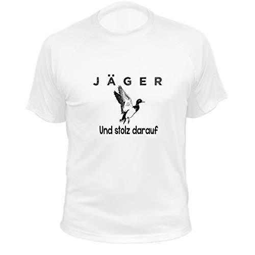 Jagd T Shirt, Jäger und stolz darauf, Ente, Lustiges Geschenk für Jäger (20222, weiß, 5a)