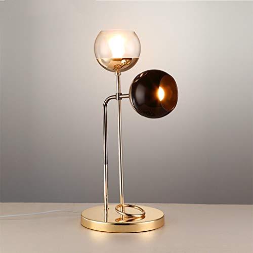 Lfixhssf Warm Nordic tafel dubbele kop van koolstofstaal lamp Modern Studio Retro Decoratieve leeslamp oogbescherming bedlampje kantoor E14 LED eenvoudige kunst L