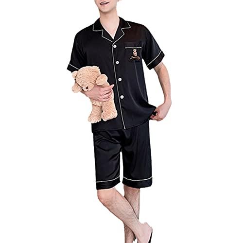 YZJYB Pijamas De Satén para Hombres con Escote En V Albornoz Botones Saten Conjuntos De Manga...