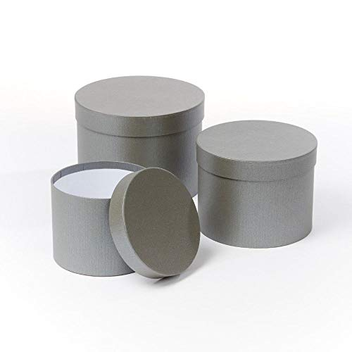 OASIS Symphony Lined Florist Hat Boxes - Set of 3 - Matte Grey Home Accessories Garden & Outdoors