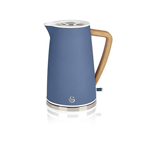 Swan Nordic Jug Kettle, 1.7 Litre, Blue, Rapid Boil, Wood Effect Handle, Scandi Design, Soft Touch Housing and Matte Finish, 3KW, SK14610BLUN