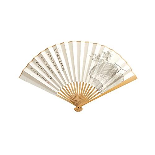 Ventilatori portatili Pieghevole Fan di riso Carta di riso Pieghevole Mano Ventilatore Anguria Figura Figura Pieghevole Danza Ventilatore Jade Bamboo Ventilatore Bone Portatile Ventilatori Ventilatori