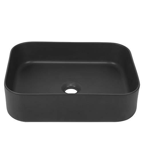 Ejoyous Lavabo de Cerámica sobre Encimera, Lavabo de Baño de Superficie Lisa y Fácil de Limpiar, Lavabo de Baño Moderno para Baño de Cocina de Hotel, 45x34,5x12 cm, Negro