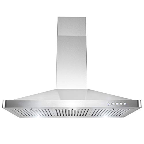 AKDY 36 in. Convertible Stainless Steel Wall Mount Range Hood with LED and Carbon Filters
