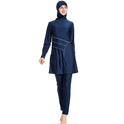 XDXART vrouwen Bescheiden moslim badpak Siamese Tops Hoed Lange Broek Lange Mouw Badmode Strandkleding islamitische kostuum