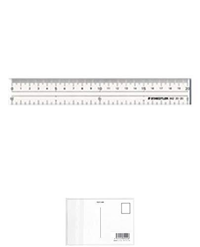 ステッドラー 直線定規 両側目盛り付き 20cm 962 20-20 【× 2 個 】 + 画材屋ドットコム ポストカードA