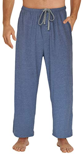 EVERDREAM Sleepwear Mens Jersey Knit Pajama Pants, Long Pj Bottoms,Size Large Blue