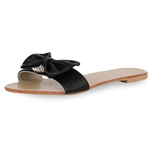 SCARPE VITA Damen Sandalen Schlappen Beach Schuhe Schleifen Flats 165899 Schwarz Schleifen 41