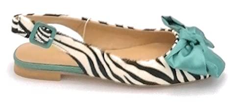 Alma en Pena V21220 Ballerina offen hinten Pferd Zebra Schleife U-Band - Größe Schuh 39 EU Farbe Zebra