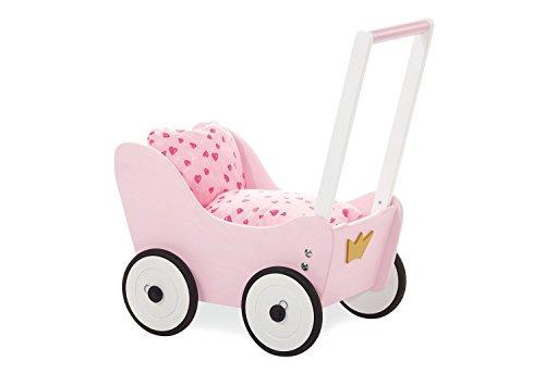 Pinolino Puppenwagen Prinzessin Lea, aus Holz, mit Bremssystem, Lauflernhilfe mit gummierten Holzrädern, für Kinder von 1 – 6 J., rosa, weiß und gold