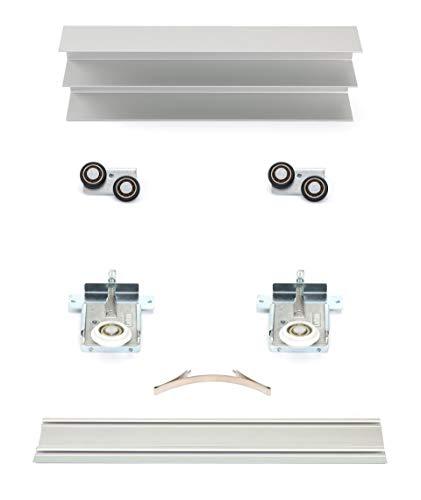 Schiebetürbausatz inkl. Rollen für 2 Türen, Positionsfinder, Boden- und Deckenschiene in 2000 mm | Füllung kommt von Ihnen – Holz in 16-22 mm möglich | Bringen Sie Ihre Platten zum Rollen