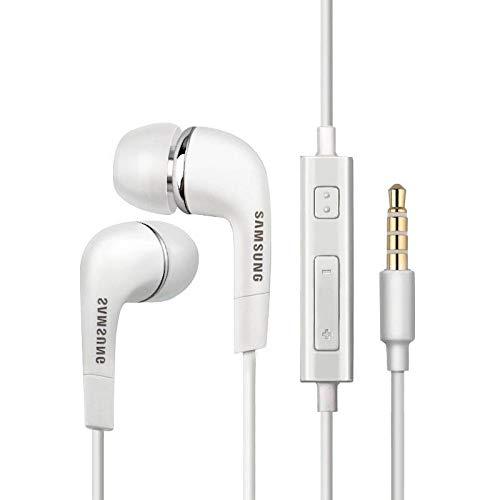 Auriculares originales color blanco EHS64AVFWE, intrauditivos, estéreo, para manos libres, con cable plano antienredos y entrada de 3,5 mm y micrófono integrado (Bulk)