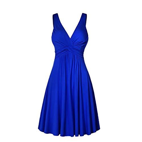 Auifor de las Mujeres más el tamaño de Cuello en V Retro Honda Plisado Delgado de la Falda de la Llamarada Dresse(Azul/XX-Large)