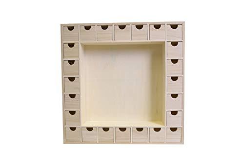 Artemio 39 x 39,5 x 6,5 cm Adventskalender aus Holz mit Schubladen zu dekorieren, beige, 39 x 39.5 X6.5 cm