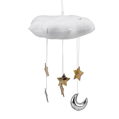 Babybett Bettzimmer spielen Zelt hängen schwebende Wolke Anhänger dekorieren mit Mondsternen, Baumwollmaterial, Wolke hängen Dekoration(Weiß)