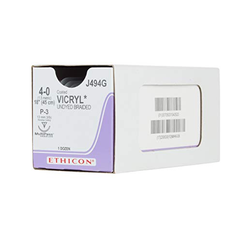 Ethicon Coated VICRYL (polyglactin 910) Suture, J494G, Synthetic Absorbable, P-3 (13 mm), 3/8 Circle Needle, Size 4-0, 18' (45 cm),Undyed