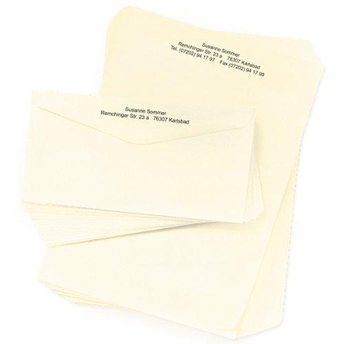 Briefpapier elfenbeinfarben: 100 Briefbögen DIN A4 + 100 Briefumschläge mit Ihrer kompletten Adresse