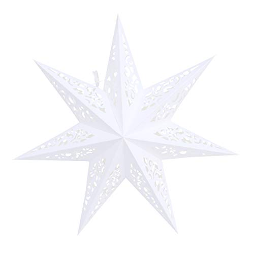 Garneck 45cm Weihnachtsstern Papier Lampenschirm 3D Papierstern Laterne Star Lantern für Weihnachten Xmas Silvester Hochzeit Party Hängende Dekoration Ornament Fensterdeko Weiß