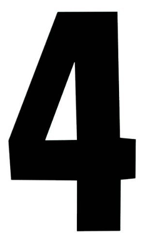 Self Adhesive Wheelie Bin Numbers 17cm - 4 - Black by Rowan