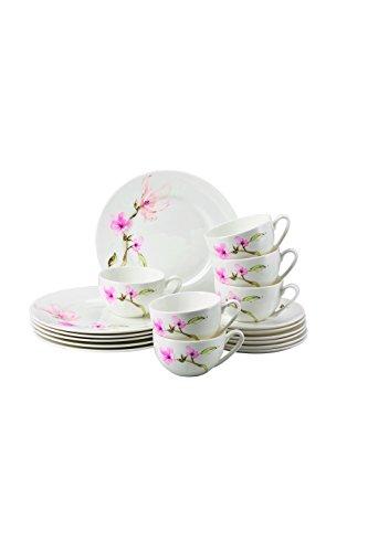 Rosenthal 61040-414124-28429 Jade - Servizio da tè in Porcellana, 18 Pezzi, Motivo: Magnolie