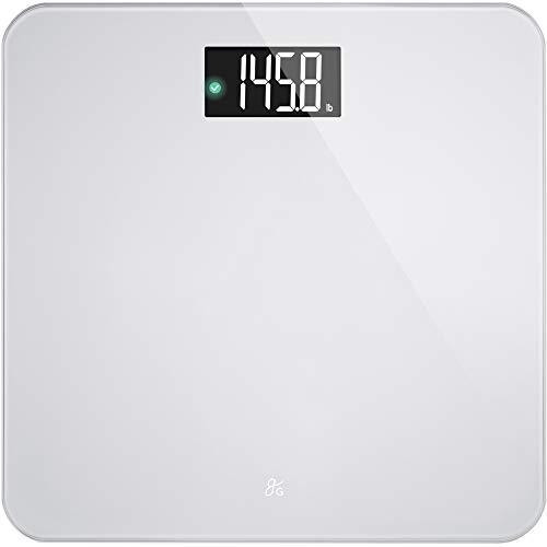 AccuCheck Báscula digital de peso corporal de Greater Goods, tecnología pendiente de patente, Large, plateado, (Silver Glass)