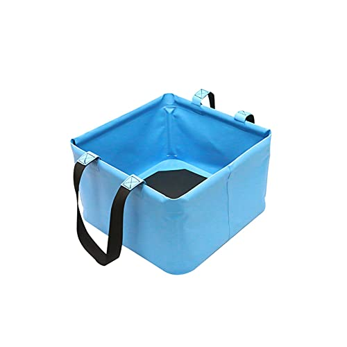 MOVKZACV Cubo plegable compacto portátil plegable contenedor de agua – ligero y duradero con asa para coche, viajes, campamento senderismo jardinería cocina