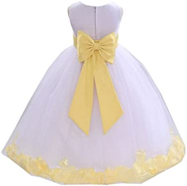 White Tulle Rose Petals Flower Girl Dress Tulle Dress Christening Dress 302T 4 product image