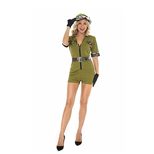 HIZQ Disfraz De Adulto Camuflaje Verde Uniforme Militar De Una Pieza Uniforme De Actuacin De Mujer Polica Es Adecuado para El Escenario De Baile De Fiesta De Halloween,Verde,XL
