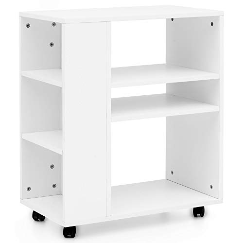 FineBuy Regal 60x35x75 cm Weiß Regalwagen mit Rollen Holz | Schmales Küchen-Regal | Telefontisch Rollwagen Modern | Bücher-Regal schmal Standcontainer Hoch